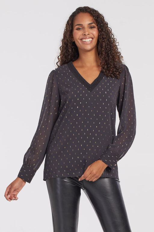 A graceful fit, easy popover style, and fabulous detailing make this elegant black long-sleeve blouse a fast favorite. Speckled with drops of gold thread the allover metallic detailing adds a richness to the blouse's timeless ruffled trim.