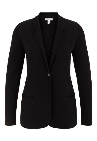 Easy tailoring makes this blazer more comfortable than ever thanks to its stretch woven suiting material! The fitted silhouette blurs the line between year-round work and weekend wear. With a slim fit and comfortable stretch knit sleeves, you can throw on and sharpen up any outfit in your wardrobe. This is fitted through the body and is not lined.