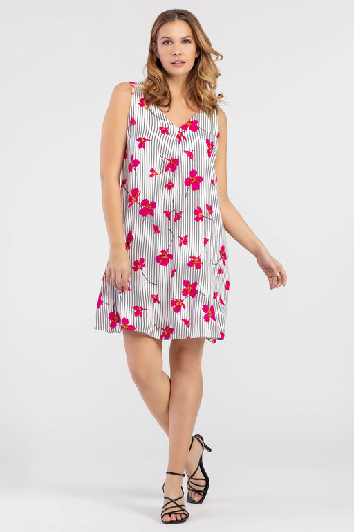Vibrant pops of hot pink flowers and a thin striped pattern come together to create a look that suits any closet. On top of a sweet v-neck and v-back, this knee-length a-line dress is equipped with every woman's dream: pockets!