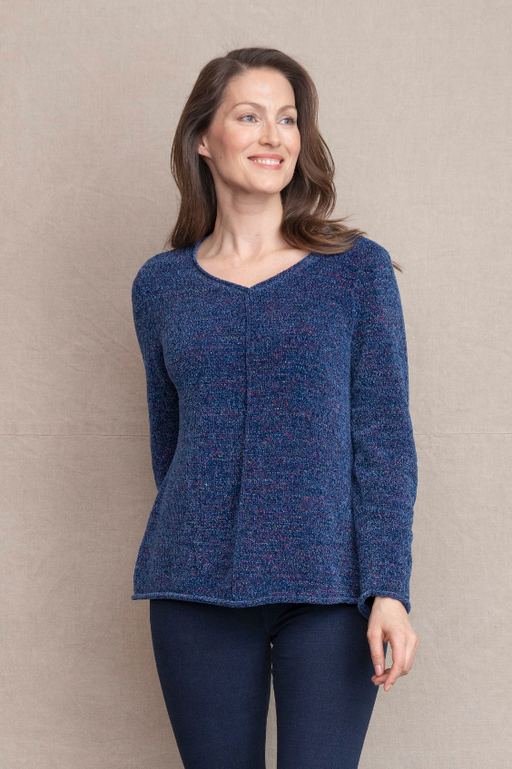 Our super soft chenille is flecked with subtle multi colored yarns to create a pop of Fall color. Rolled cuffs , bottom hem and neck line. Rolled edge pocket. Fit/Body: Easy relaxed fit. Great for all body types.