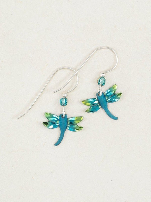 Holly Yashi Dragonfly Earrings. Beautifully cut and colored niobium dragonflies are cast in iridescent shades and flutter from Bohemian glass beads.
