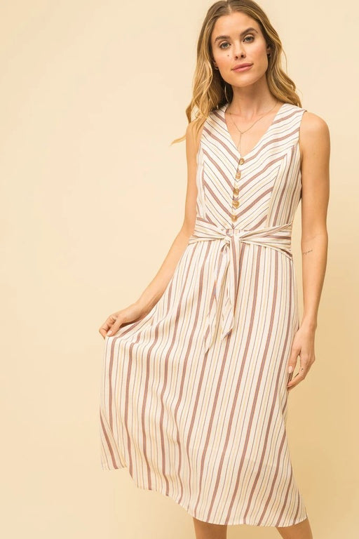 Beige Mix Stripe   Button Bodice   Tie Front   Slight A-Line  Polyester   Hand Wash