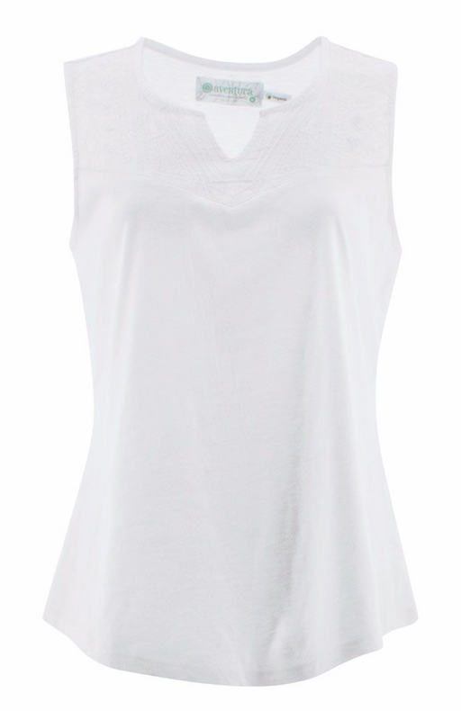 The Cheri Tank features embroidery details on the front yoke and a feminine notch neckline. Crafted from a soft organic cotton and Tencel® modal blend, this sustainable style is lightweight and breathable.