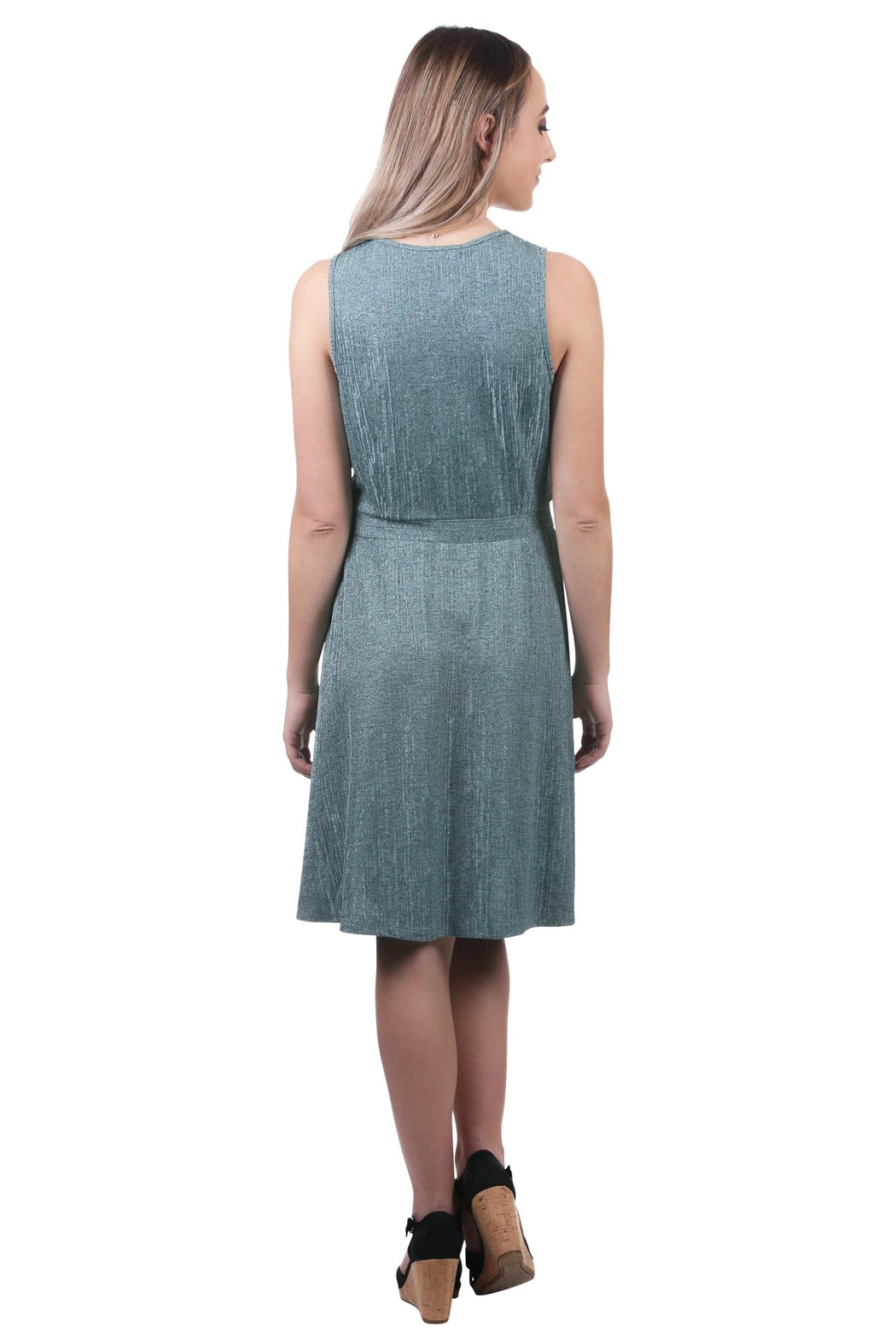 When you're looking for a dress that can take you from a day in the office to a night out on the town, our Metallic V-Neck Dress with Waistband has you covered. The V-neck combined with the defined waistband gives this dress a sophisticated look, while the fit and flare shape offers a playful twist. Super versatile and easygoing, this softly textured dress is designed to flatter.