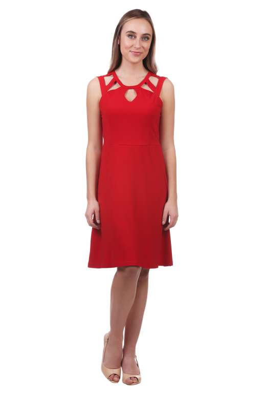 Looking for that perfect new little red dress to add to your wardrobe? Well, look no further now that you have found our Cut Out Neckline Fit and Flare Dress. The cut out neckline offers a sophisticated detail and the fit and flare design gives this dress a flattering look that is perfect for anything from the office to a night out! Pair with a set of heels or flats to complete your look!