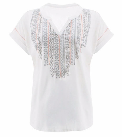 If the t-shirt reigns supreme in your warm weather wardrobe, the Forlani Top is the true queen. Crafted from a super soft organic cotton and polyester blend, this sustainable style features a relaxed fit with drop shoulders and a notch neckline. Puff print, embroidery and beading details take the Forlani to the next level.