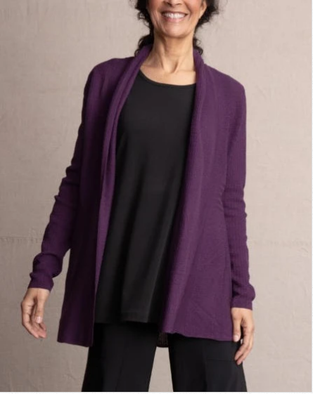 Long sleeve Eggplant perfect swing cardigan with detail at waist. Great layering sweater, is great for layering.