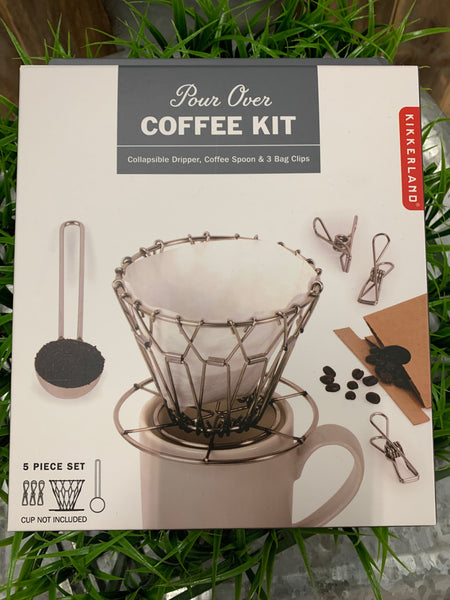 5 Piece Set Includes: Collapsible coffee dripper, coffee spoon and 3 wire clips. Material: Stainless steel CUP NOT INCLUDED