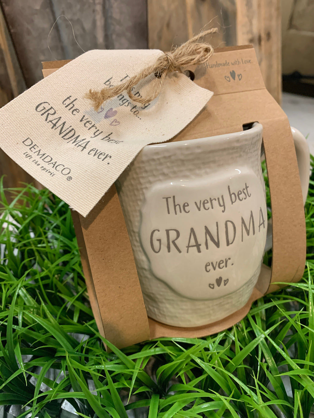 "This unique ceramic mug features a classic textured cream appearance that is perfect for any new or existing grandma. Bold debossed text across the front proudly announces to the world that they are, in fact, ""The Very Best Grandma Ever!"""