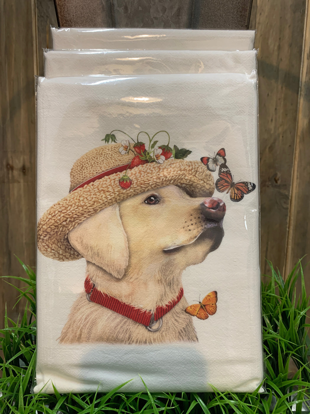 Yellow Lab Butterfly Towel