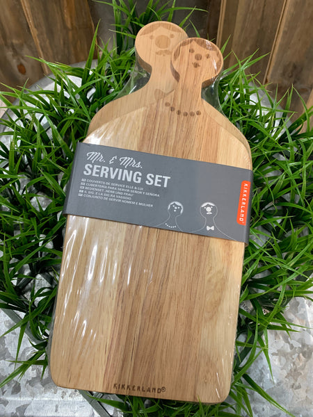 These serving boards are perfect for any gathering or party The design of the board makes it simple and easy serve guests Stylish way to serve hot or cold items Unique design created by the talented Jette Scheib Mr. Measures 4.8 by 10.8 by .4-Inches and Mrs. Measures 4.75 by 9.9 by .4-Inches