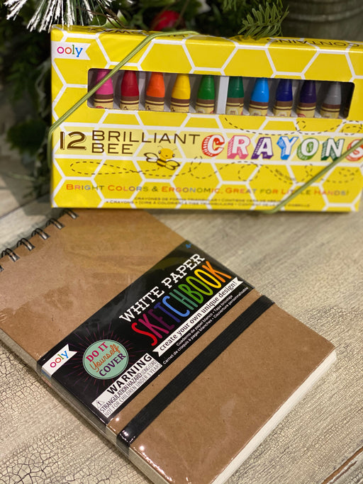 This sweet little box is the perfect pick me up for your person who loves to draw and color. The sketchbook has 75 thick pages, perfect for coloring with these triangle shaped, beeswax crayons!