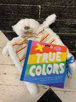 "Rainbow Bear Rattle Blanket:  This blankie features a square shaped, rainbow striped body outlined with fluffy white fur. It also boasts a cute bear's head that rattles. Keep him or her cozy from the start with this sweet stuffed bear.   True Colors Book:  Through reassuring lyrics that encourage us to be our true selves, ""True Colors"" has become a beloved song worldwide since its release in 1986. Now, for the first time ever, this inspiring and iconic song is in book form accompanied by gorgeous illustrati"