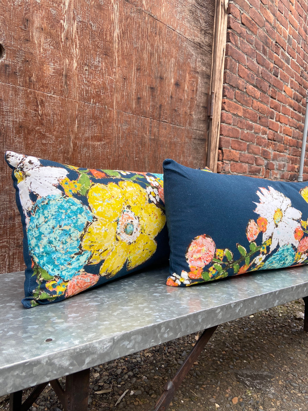 Navy and Floral Cotton Pillow