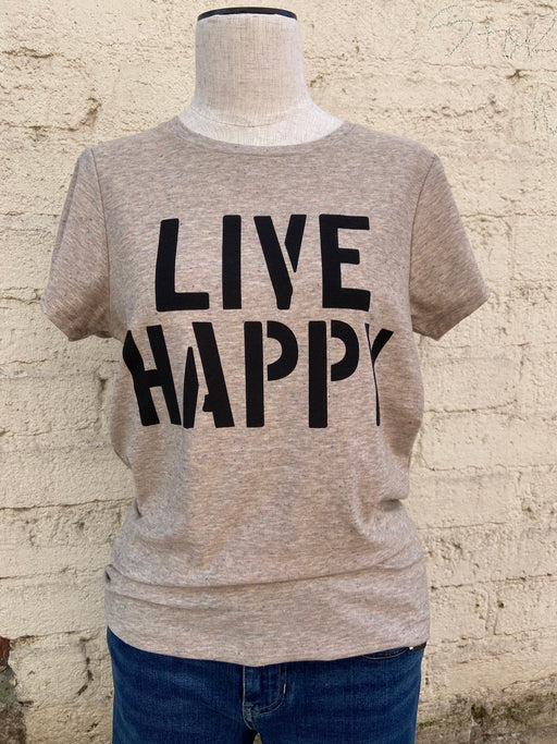 "55% cotton/45% polyester     Light brown/grey t-shirt with ""confetti"" accents     ""LIVE HAPPY"" in black, block letters"