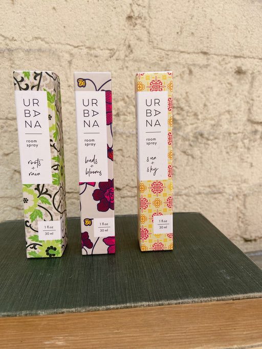 Urban Nirvana. Create a spa in the comfort of your own home. Decadent fragrances created in the finest fragrance houses of France and Italy.  Buds + Blooms: Fresh and floral with cedar, rose, ylang ylang, musk and amber.  Roots + Rain: Soothing green tea blended with citrus, rose, saffron and papyrus.  Sun + Sky: Invigorating floral and citrus notes with mango, thyme and sandalwood.  Fragrance your home with our delicately scented Room Spray (30ml).