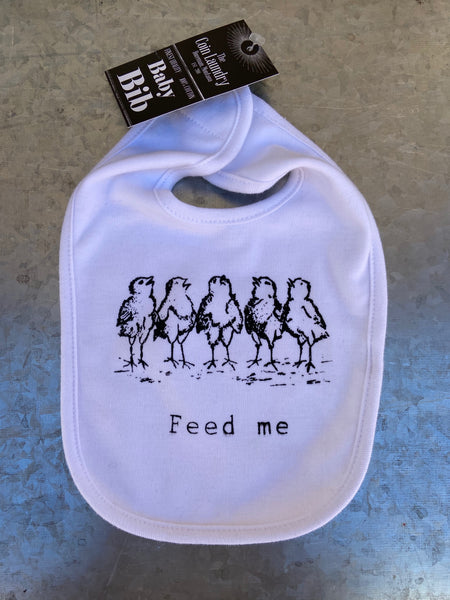 Feed me!  Hand screen printed 100% cotton bib perfect for keeping those little mess makers looking good! Made with Earth friendly water based inks in Montana.