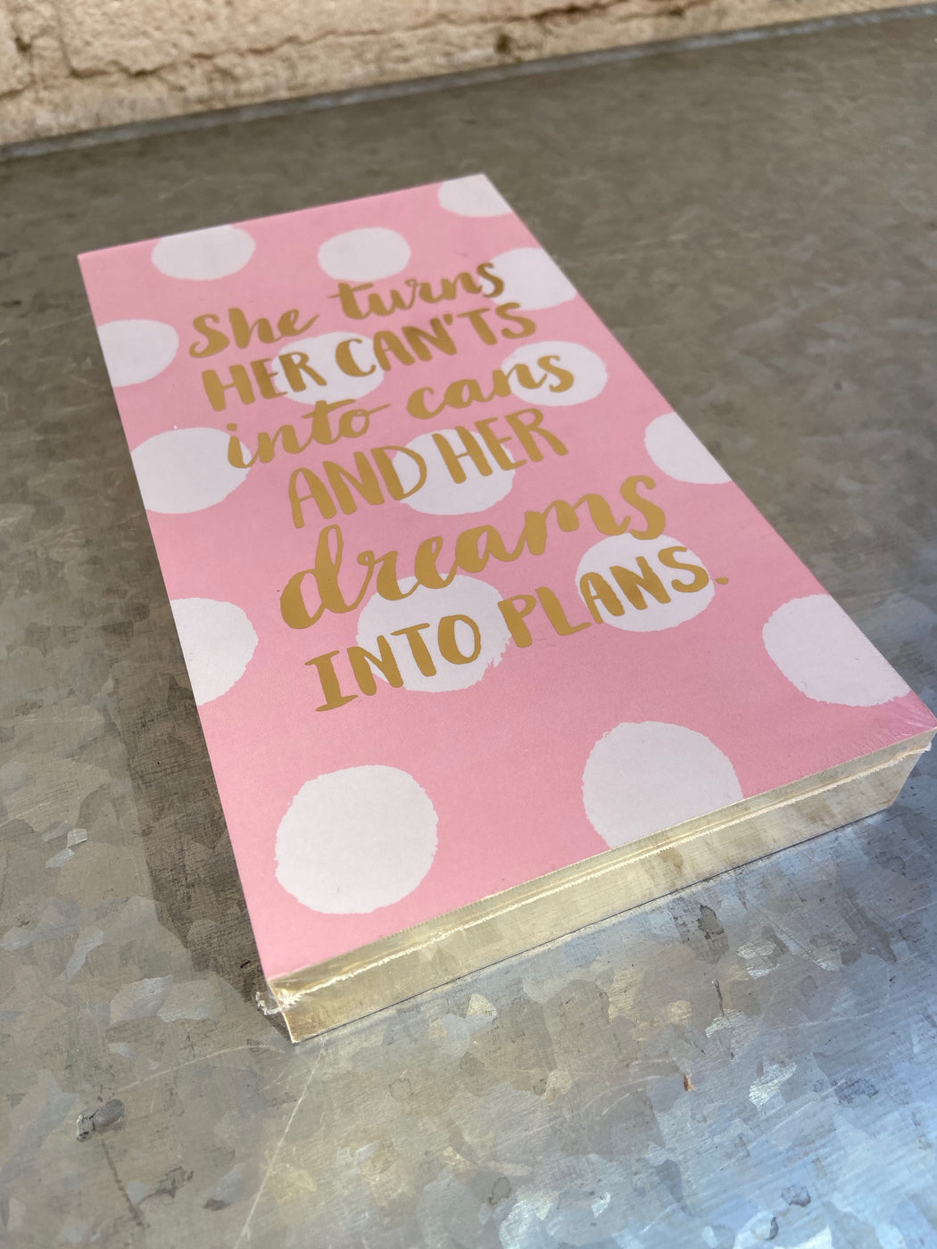 200 sheet gold gilded edged list pad with gold foiled softcover features inspiring sentiments on each page. 7.5H x 4.25W