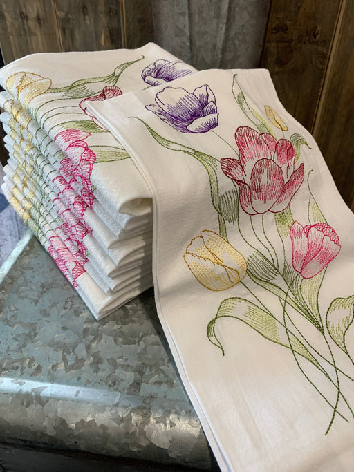 Beautifully embroidered tulip tea towel.