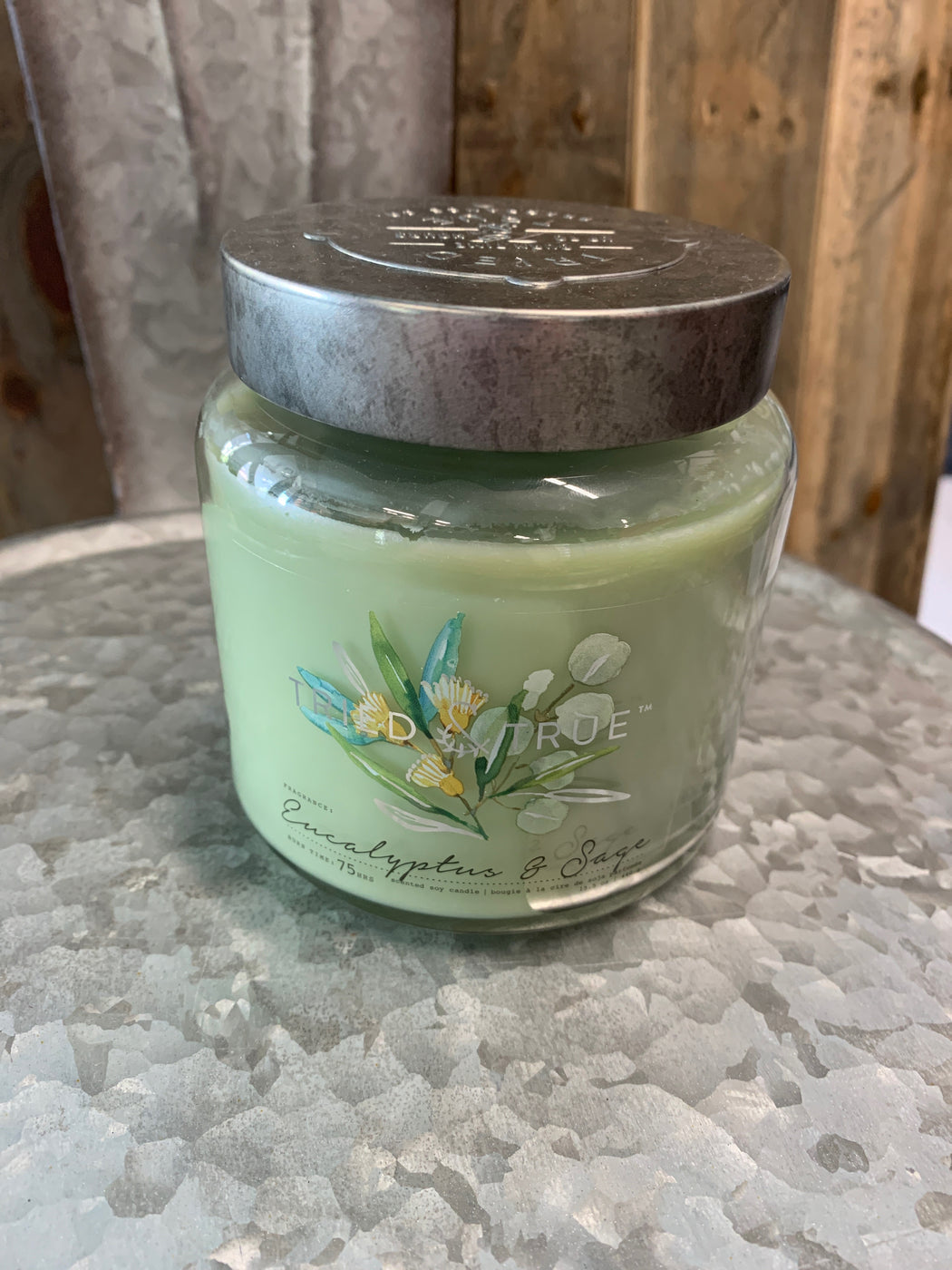 Enjoy the natural scents and cottage garden-inspired design of the Tried & True Eucalyptus & Sage Jar Candle in any room of your home. Each is made with soy wax and accented with galvanized metal for a rustic farmhouse touch.