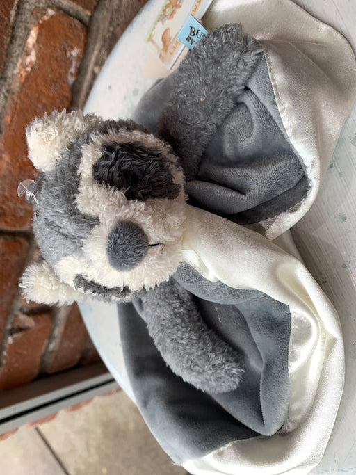 "Roxy is the perfect raccoon friend to make little ones feel safe and secure.  This lovey has soft gray and warm cream fur with coordinating velour split blanket for snuggling, lined and edged in silky cream satin.  Hand-embroidered plush face is just perfect to snuggle and cuddle. Embroidered message reads, ""Best Friend Roxy"" with a tree.  Signature three carrot tag for little ones fingers. 16"" Tall."
