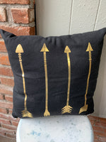 "80% Polyester/20% Cotton Place with lighter décor and it will be the center focal point Striking gold arrows make this pillow special Soft cotton & polyester cover with polyester filling Eye-catching pillow is 17""L x 5""W x 17""H"