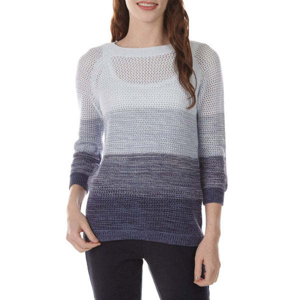 This colorful sweater is designed with an open pointelle knit and finished with a slight high-low hem.      3/4 raglan sleeves     100% cotton