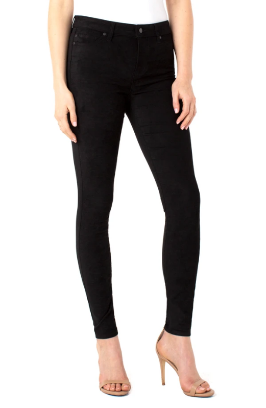 Liverpool Faux Suede Abby Skinny. Our signature Abby Skinny in a classy stretch faux-suede hand-feel offers a sleek look. This washable suede pant is versatile for many occasions.