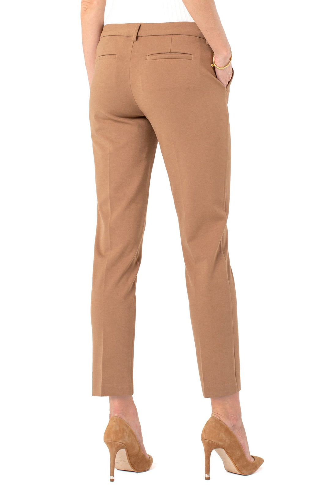 "Our signature knit trouser with superb stretch and recovery. This trouser is known to be super versatile, from work to weekend and days on the go.   FEATURES:  29'' Inseam Mid-rise 9-1/8"" Front rise; 12-1/2"" Leg opening for size 4 Set-in waistband with belt loops Zip-fly with hidden hook and eye closure Slanted side pockets and welt back pockets"