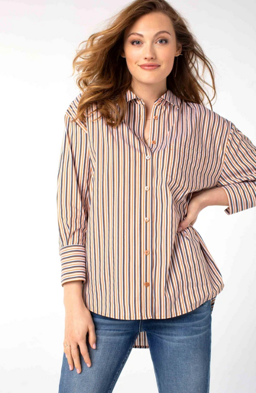 Liverpool Oversized Classic Button Down. Classic, versatile, and a timeless essential. We've added stripes to our classic oversized button-up shirt! Picture banker, entrepreneur, painter, florist, teacher, mom and more. Chic she still will be!
