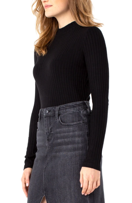 Liverpool Mock Neck Long Sleeve Knit Top. The perfect mock neck long sleeve basic top in our large rib knit. Super comfortable and easy to wear.