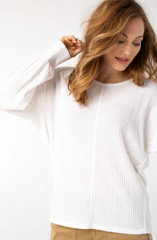 "Liverpool Easy Dolman Sleeve Light Sweater. This lightweight cozy piece is fabulous with a dolman sleeve. A front and back center seam detail creates a clean and modern look.   FEATURES:      25"" HPS     Scoop Neck      Hi-low hem detail     Composition: 68% Polyester, 29% Rayon, 3% Spandex"