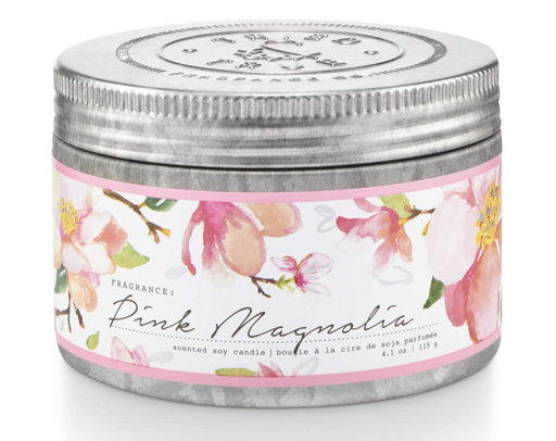 Enjoy the natural scents and cottage garden-inspired design of the Tried & True Pink Magnolia Tin Candle in any room of your home. Each is made with soy wax and accented with galvanized metal for a rustic farmhouse touch.