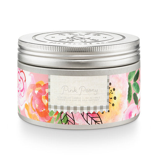 Enjoy the natural scents and cottage garden-inspired design of the Tried & True Pink Peony Tin Candle in any room of your home. Each is made with soy wax and accented with galvanized metal for a rustic farmhouse touch.