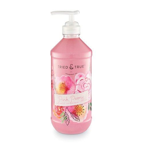 Designed for both beauty and function, the hand soap leaves your hands clean and fresh while looking beautiful on the countertop.  Clean and fresh hand wash, with notes of peony, violet, and vanilla Size: 11.8 Fluid ounce