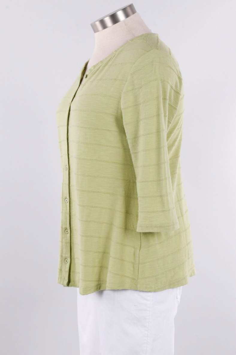 This useful cardigan follows the body's curves and releases to a flattering swing hemline. A part of Habitat's Tuck Pleat collection, it has a ribbed texture, a button front, three quarter sleeves and a vertical seam in back. A top choice when needed for a little extra warmth or to complete a layered look. 100% cotton machine wash cold, tumble dry low