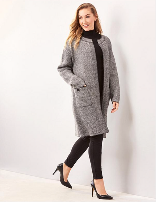 Charlie Paige Open Fron Coatigan. Get a layered look for in-between weather with this cozy open-front coatigan designed with a round neckline, long sleeves and two patch pockets. 100% Polyester.