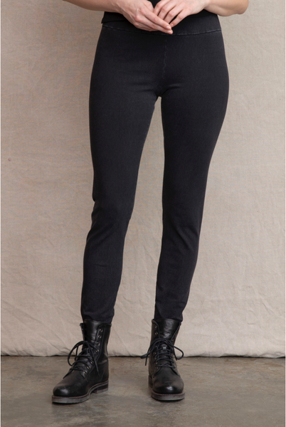 Looks like a jean, feels like a legging, works with everything you own. Clean stretch waistband for sleek control. A staple women's pant. Fit: A relaxed legging fit. Perfect weight to conceal bumps and bulges. Great stretch and recovery. Works on all body types.