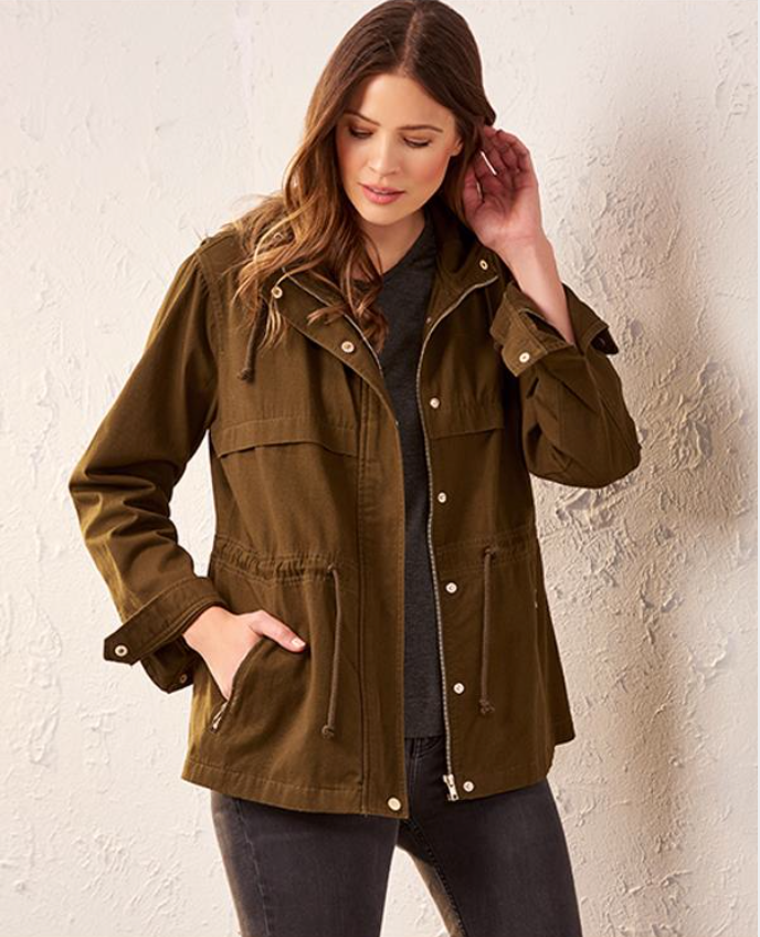 Charlie Paige Must-Have Anorak Jacket. For a modern and cool take on utilitarian style, try this hooded jacket made with a drawstring at the waist, two zip-up pockets, long sleeves and a combination of snap buttons and a zip-front. 2 Assorted Colors: Green, Camo. Cotton.  Edit alt text