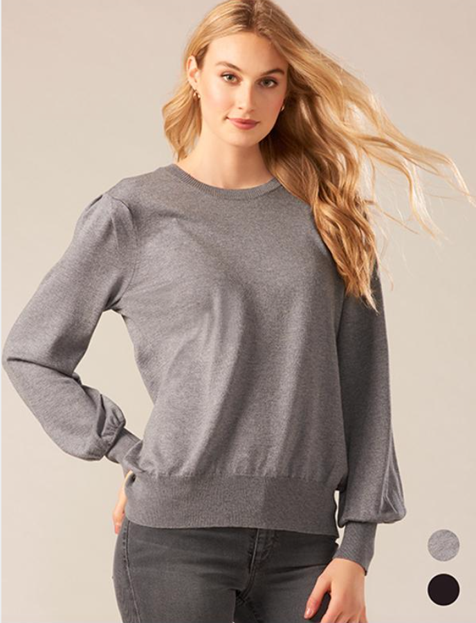 Charle Paige Bishop Sleeve Top. This lightweight knit top designed with long bishop sleeves and a crew neckline is a welcome addition to your wardrobe.  Edit alt text