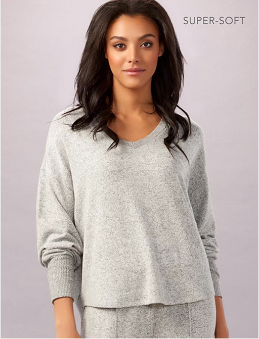 Charlie Paige Super Soft V-Neck Lounge Top. Laze about at home in this relaxed-fit grey melange lounge top that features a V-neckline, long drop sleeves with ribbed cuffs and a high-low hem. Rayon, Polyester, Spandex.