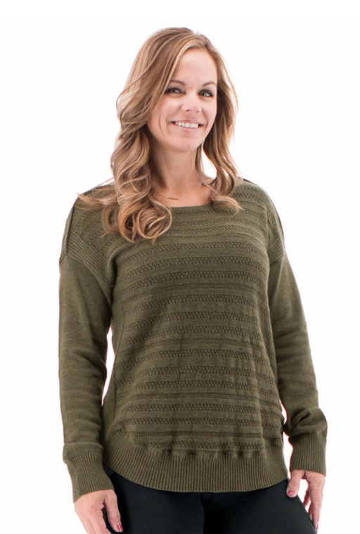 A curved, ribbed hemline and cuffs add interest to the otherwise understated Callisto Sweater. The knit on this drop shoulder sweater is made of 100% organic cotton and features pointelle details throughout.