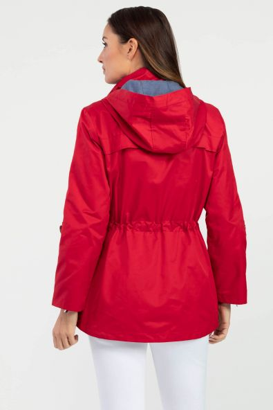 Move from Spring to Summer in style with this rich red zip-up jacket. Featuring a convenient detachable hood, contrasting roll-up sleeves, and a flattering cinched waist, this jacket has everything you need to transition between the seasons!
