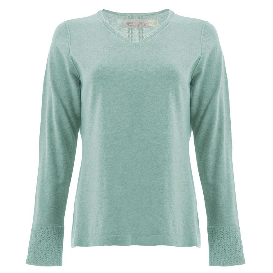 Warm, soft and lightweight describes this sweater. The sustainable Quinn Sweater has a relaxed fit for a timeless, casual look. This v-neck sweater features pointelle detailing throughout and side slits at the hemline.