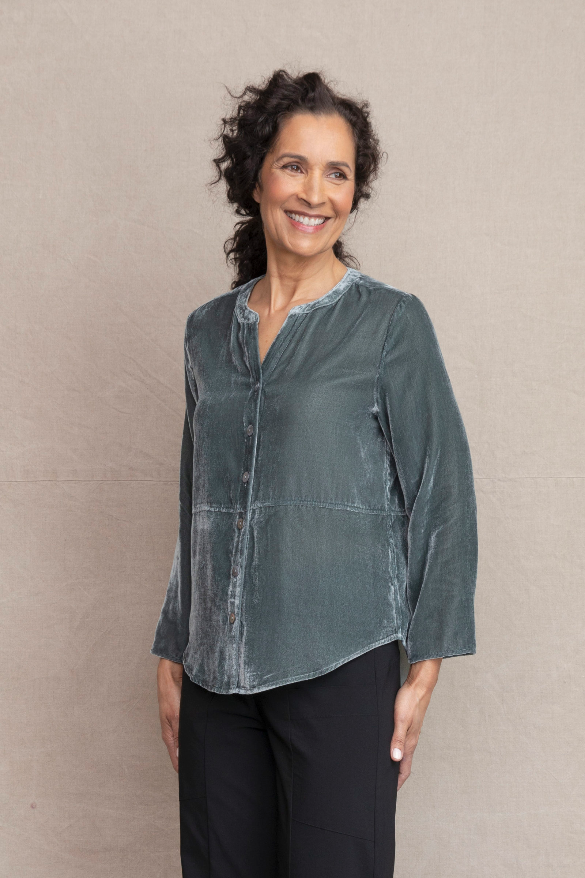 Habitat Velvet Mandarin Shirt. Description: Luxurious rayon velvet with agoya shell buttons, split mandarin collar and flattering shirttail hem. Dress up or down for any occasion. Fit/Body: Sits at shoulders with a relaxed fit though the body. Easy on all body types. Works for some petite bodies.