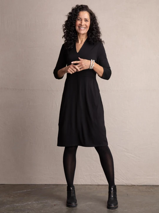 Habitat Knit Paris Dress. Description: Easy and elegant with a beautifully shaped v neck, flattering angled pockets and 3/4 sleeves. Fabric weight conceals bumps and bulges and holds its shape wear after wear.