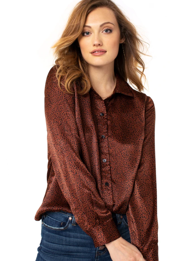 Sleek and sophisticated, this Liverpool button-down blouse is perfect for day or night. This elevated mini leopard print offers versatility in styling. We love it paired with denim for an effortless look.