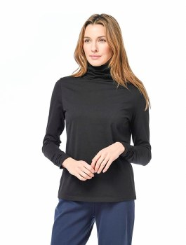 Habitat cotton ruched turtleneck. A fitted, sleek long sleeve cotton turtleneck from Habitat that comes in black, white, chalk, teal, rouge and denim. It's 100% Pima cotton, making it a soft and comfortable top to wear alone or as a layering piece under sweaters or jackets. This top features a ruched turtleneck and cuffs.
