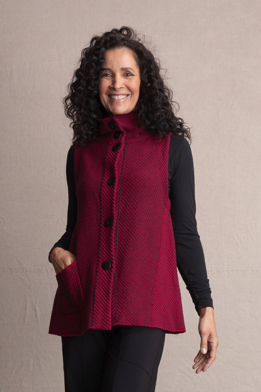 Habitat Diagonal Stitch Pocket Vest. A cheery red layering piece to bring pop to any outfit. Etched dyed to match buttons. Waist flattering seams.