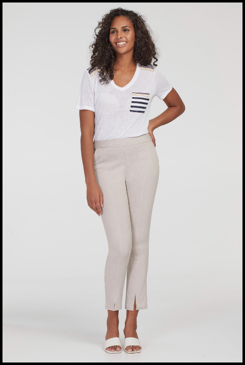 Tribal Flatten It Pull On Ankle Pant. Never fuss with buttons or zippers again: this pull-on pant blends all the style of a regular trouser with enhanced comfort and tummy taming Flatten-It technology! Its stretch twill fabric and strategic seaming provides a super flattering fit that keeps you feeling hugged in all day and all night.
